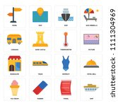 set of 16 icons such as ship ...