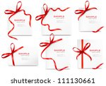 set of card note with red gift... | Shutterstock .eps vector #111130661