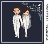 cute romantic couple on wedding ...   Shutterstock .eps vector #1111313507