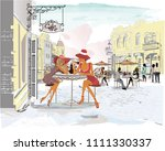 series of the street cafes with ... | Shutterstock .eps vector #1111330337