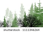 illustration with green forest... | Shutterstock .eps vector #1111346264