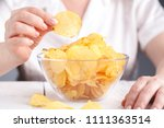 female with heap of potato... | Shutterstock . vector #1111363514