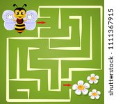 help bee find path to flower.... | Shutterstock .eps vector #1111367915