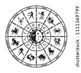 round black horoscope on a... | Shutterstock .eps vector #1111369799