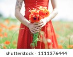 beautiful woman in red dress... | Shutterstock . vector #1111376444