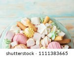 lots of sweets  macarons ... | Shutterstock . vector #1111383665