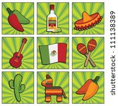 square mexican icons with... | Shutterstock .eps vector #111138389