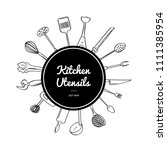 vector kitchen utensils doodle... | Shutterstock .eps vector #1111385954