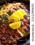 japanese crispy pork katsudon... | Shutterstock . vector #1111399655