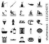aquatic icons set. simple set... | Shutterstock . vector #1111424075