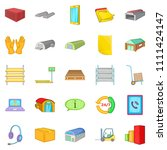 storage of goods icons set.... | Shutterstock . vector #1111424147