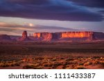 Amazing sunrise with pink, gold and magenta colors near Monument Valley, Arizona, USA. - stock photo