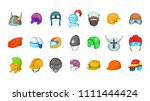 helmet icon set. cartoon set of ... | Shutterstock . vector #1111444424