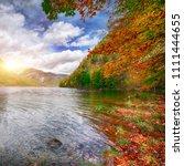 idyllic autumn scene in... | Shutterstock . vector #1111444655