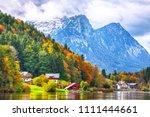 idyllic autumn scene in... | Shutterstock . vector #1111444661