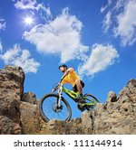 person riding a mountain bike a ... | Shutterstock . vector #111144914