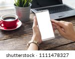 hand woman using a telephone ... | Shutterstock . vector #1111478327