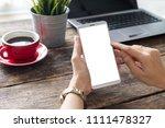 hand woman using a telephone ... | Shutterstock . vector #1111478327