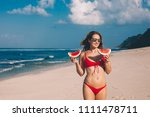 young woman in red bikini with... | Shutterstock . vector #1111478711