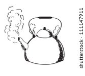A Boiling Kettle And Steam. On...