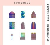 building icons in futuristic...   Shutterstock .eps vector #1111482365
