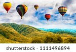 panorama of mountain with hot... | Shutterstock . vector #1111496894