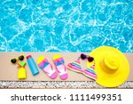 swimming pool accessories flat... | Shutterstock . vector #1111499351