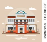 bank in western town on brown... | Shutterstock .eps vector #1111501319