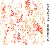 falling musical symbols.... | Shutterstock .eps vector #1111502495