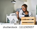 friendly waitress taking order... | Shutterstock . vector #1111505057