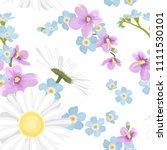fresh wild field flowers mix.... | Shutterstock .eps vector #1111530101