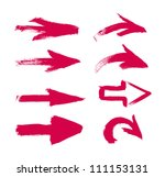 red vector hand painted brush... | Shutterstock .eps vector #111153131