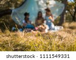 blurred group of girls friends... | Shutterstock . vector #1111549331