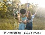 group of girls friends making... | Shutterstock . vector #1111549367
