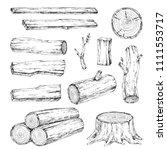 wood  burning materials. vector ... | Shutterstock .eps vector #1111553717
