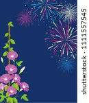 morning glory and fireworks... | Shutterstock .eps vector #1111557545