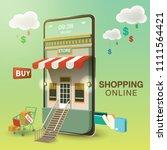 shopping online mobile phone... | Shutterstock .eps vector #1111564421