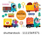 kids transport set with cute... | Shutterstock .eps vector #1111569371