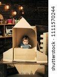 children's dreams of space. kid ...   Shutterstock . vector #1111570244