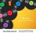 colorful vinyl records with... | Shutterstock .eps vector #1111572731