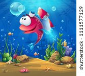 undersea world with funny fish. ... | Shutterstock .eps vector #1111577129