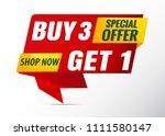 poster sale banner buy 3 get 1... | Shutterstock .eps vector #1111580147