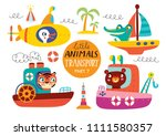 kids transport set with cute... | Shutterstock .eps vector #1111580357