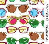 sunglasses. set. seamless... | Shutterstock .eps vector #1111586477