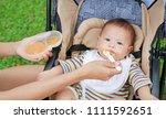 close up mother hands feeding... | Shutterstock . vector #1111592651