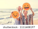 happy mature mother and son at... | Shutterstock . vector #1111608197