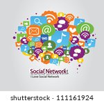 social network bulb | Shutterstock .eps vector #111161924