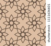 brown floral ornament on beige... | Shutterstock .eps vector #1111636601