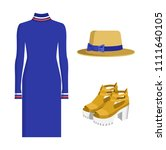 dress and hat with bows  shoes... | Shutterstock .eps vector #1111640105
