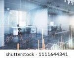 forex chart on blurry office... | Shutterstock . vector #1111644341